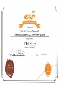Aspray Franchisees Franchisee of the year Award