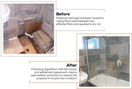 Escape of water claim, before and after pictures. Jack Parkhouse.