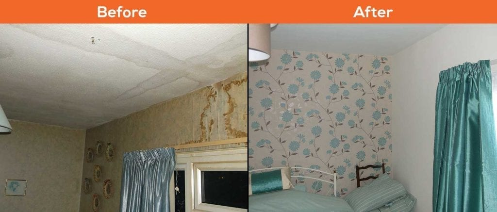 Escape of Water damage - before and after pictures