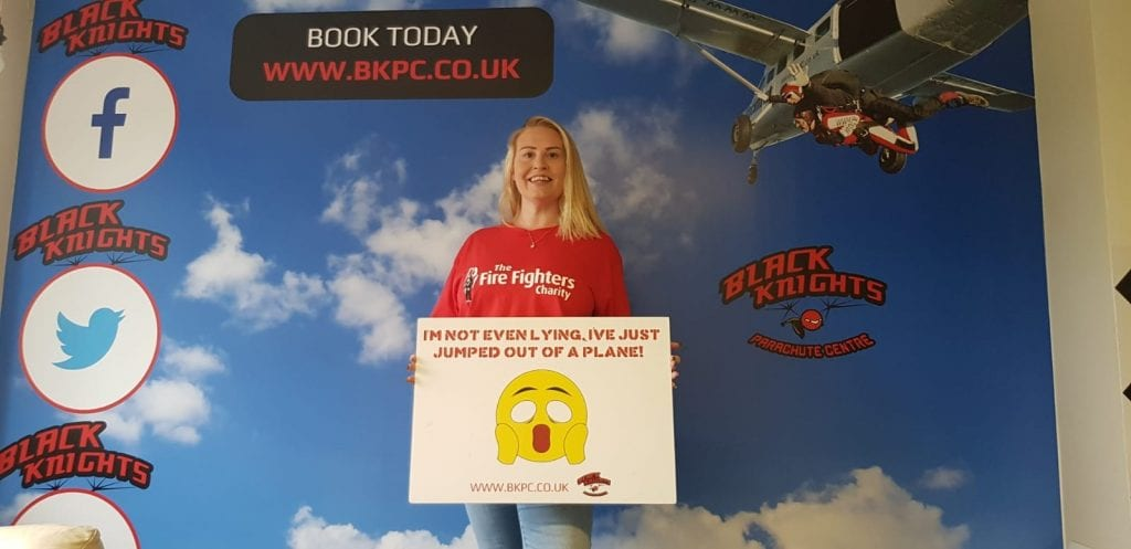 Kim - Sky Dive on behalf of the Firefighters Charity