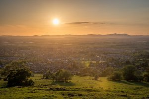 Sunset Over The Malvern Hills From Cleeve Hill With Views